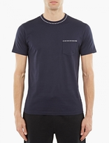 Sunspel Navy Stripe-Trim T-Shirt