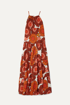Dodo Bar Or Dorothy Tiered Floral-print Cotton-voile Maxi Dress - Orange
