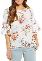 Bobeau Bell Sleeve Floral Print Woven Top