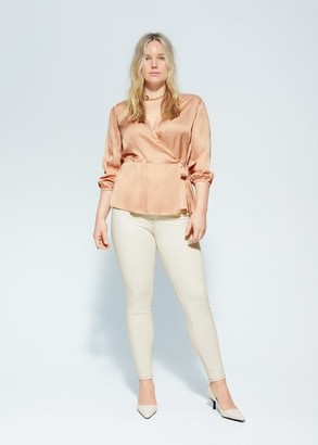 MANGO Violeta BY Satin wrap blouse beige - 10 - Plus sizes