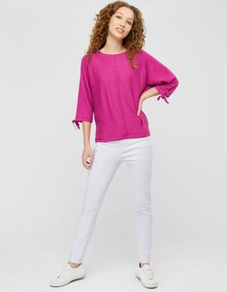 Under Armour Tie Sleeve Knit Jumper in Linen Blend Pink