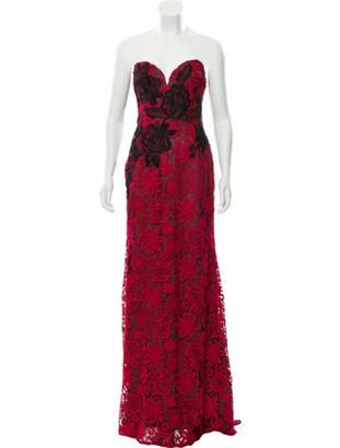Naeem Khan Guipure Lace Evening Dress Red