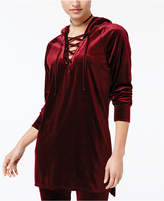 Material Girl Active Juniors' Lace-Up Velour Tunic, Created for Macy's