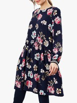 Joules Alexa Floral Curved Front Seam Dress, Navy
