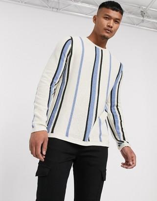 Asos Design DESIGN sweater in vertical stripe in ecru-Cream