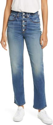 Rag & Bone Jane Super High Waist Exposed Button Fly Cigarette Jeans