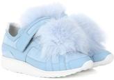 Pierre Hardy Fur-trimmed suede sneakers