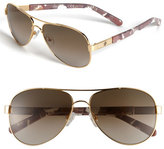 Tory Burch Women's 57Mm Aviator Sunglasses - Gold/ Brown