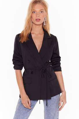 Nasty Gal Womens Something Good Can Work Tailored Belted Blazer - black - 6