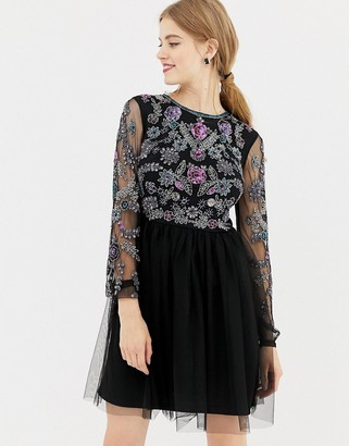 Frock and Frill long sleeve embellished skater dress with open back-Black
