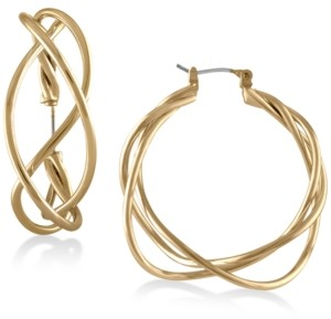 "Rachel Roy Gold-Tone Twisted 1-1/2"" Wire Hoop Earrings"
