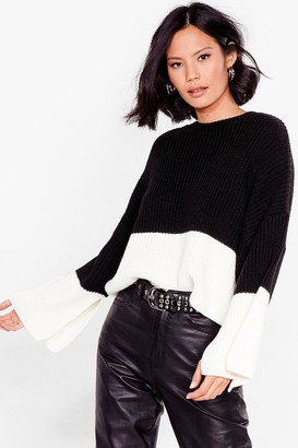 Nasty Gal Womens Round the Colorblock Cropped Knit Sweater - Black