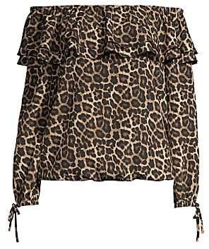 MICHAEL Michael Kors Women's Off-The-Shoulder Leopard-Print Top