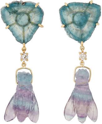 Jan Leslie 18k Bespoke 2-Tier Tribal Luxury Earrings w/ Tourmaline, Rainbow Fluorite & Diamonds