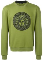 Versace Medusa embroidered sweatshirt - men - Cotton/Lamb Skin - M