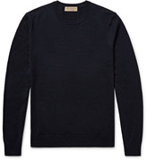 Burberry Elbow-patch Cashmere And Cotton-blend Sweater - Midnight blue