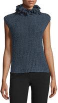 Brunello Cucinelli Lara Sleeveless Turtleneck Cashmere Sweater, Blue Galaxy
