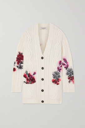 Valentino Embroidered Cable-knit Alpaca-blend Cardigan - White