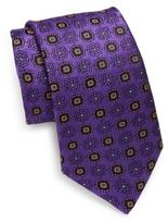 Ike Behar Woven Geometric Flower Silk Tie