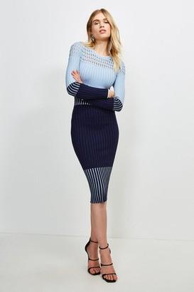 Karen Millen Pointelle Detail Colour Block Knit Dress
