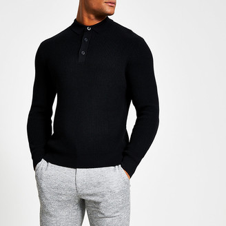 River Island Black long sleeve slim fit knit polo shirt