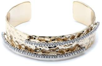 Alexis Bittar Hammered Metal Cuff Bracelet With Orbiting Crystal Rows