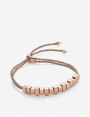 Monica Vinader Linear Ingot 18ct gold vermeil metallic woven friendship bracelet