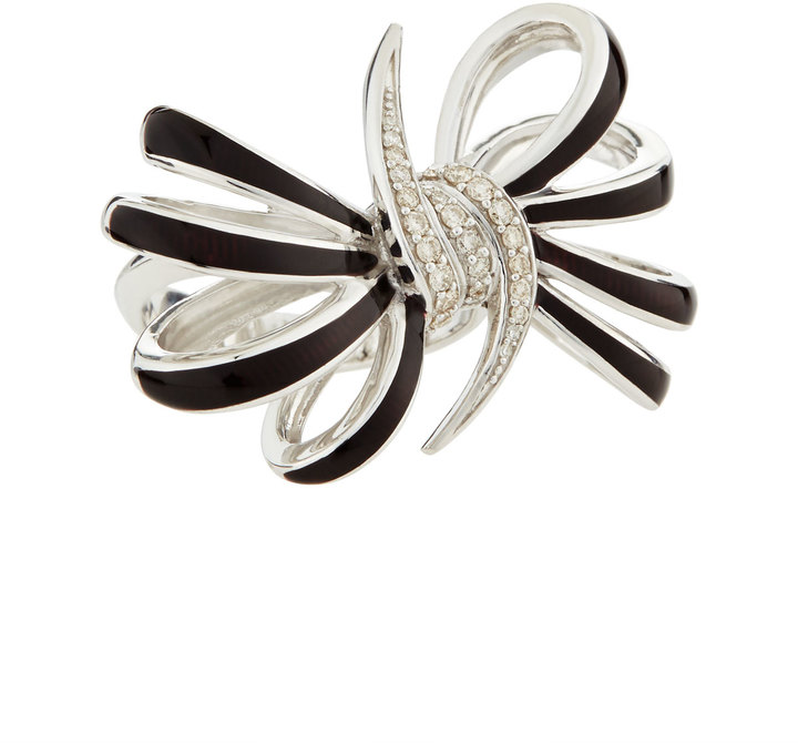 Stephen Webster Four-Loop Burgundy Diamond Bow Ring, Size 7