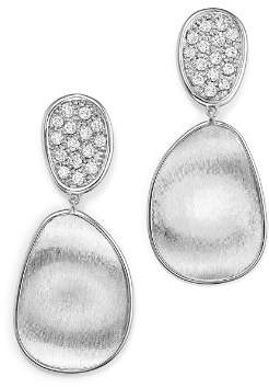 Marco Bicego 18K White Gold Lunaria Diamond Double Drop Earrings