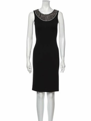 St. John Scoop Neck Knee-Length Dress Black