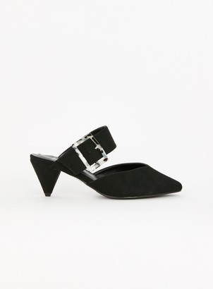 Evans EXTRA WIDE FIT Black Cone Point Heels