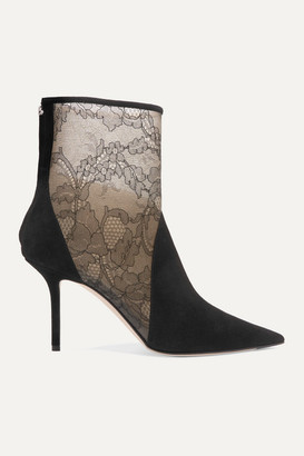 Jimmy Choo 85 Corded Lace-paneled Suede Ankle Boots - Black