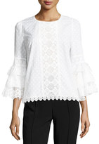 Andrew Gn Tiered Ruffle-Sleeve Voile Blouse, White
