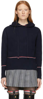 Thom Browne Navy Cashmere Pullover Hoodie