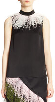 Christopher Kane Sleeveless Feather-Trim A-Line Blouse, Black