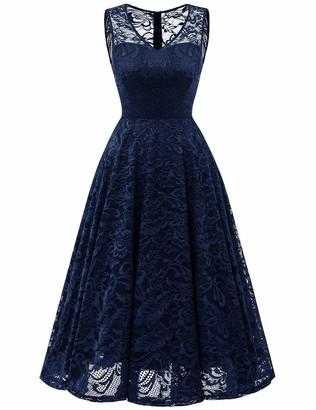 Meetjen Women's Cocktail V-Neck Dress Floral Lace Tea-Length Bridesmaid Party Dress Midi Navy 2XL