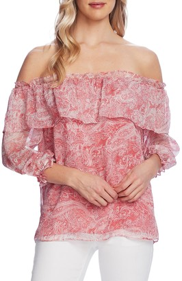 Vince Camuto Tiered Off The Shoulder Paisley Blouse