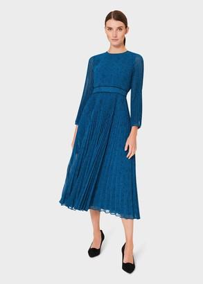 Hobbs Petite Isabella Spot Pleated Midi Dress