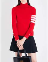 Thom Browne Stripe-detail turtleneck cashmere jumper