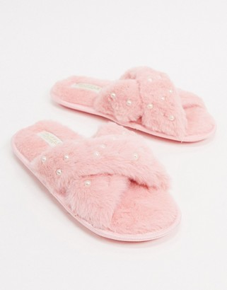 Truffle Collection cross strap embellished slippers in pink