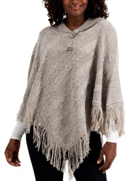 Karen Scott Plus Size Cable-Knit Fringe-Hem Poncho, Created for Macy's