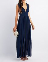Charlotte Russe Pleated V-Neck Maxi Dress