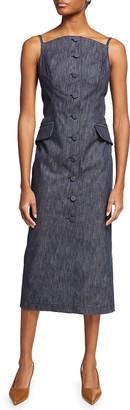 Carolina Herrera Denim Button-Down Midi Dress