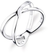 Women's Sterling Silver Polish Criss Cross Ring - Silver