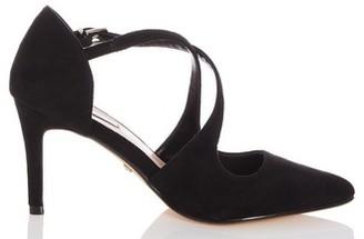 Dorothy Perkins Womens Quiz Wide Fit Black Cross Strap Court Shoes, Black