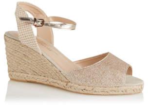 George Gold Canvas Ankle Strap Espadrille Sandals