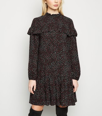 New Look Brushstroke Print Frill Smock Dress