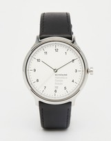 Mondaine Helvetica Bold Leather Watch In Black 40mm