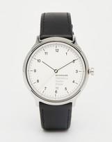 Mondaine Helvetica Bold Leather Watch In Black 40mm