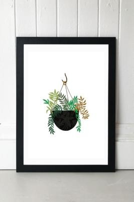 Brie Harrison Hanging Fern Basket Wall Art Print - Black 1 at Urban Outfitters